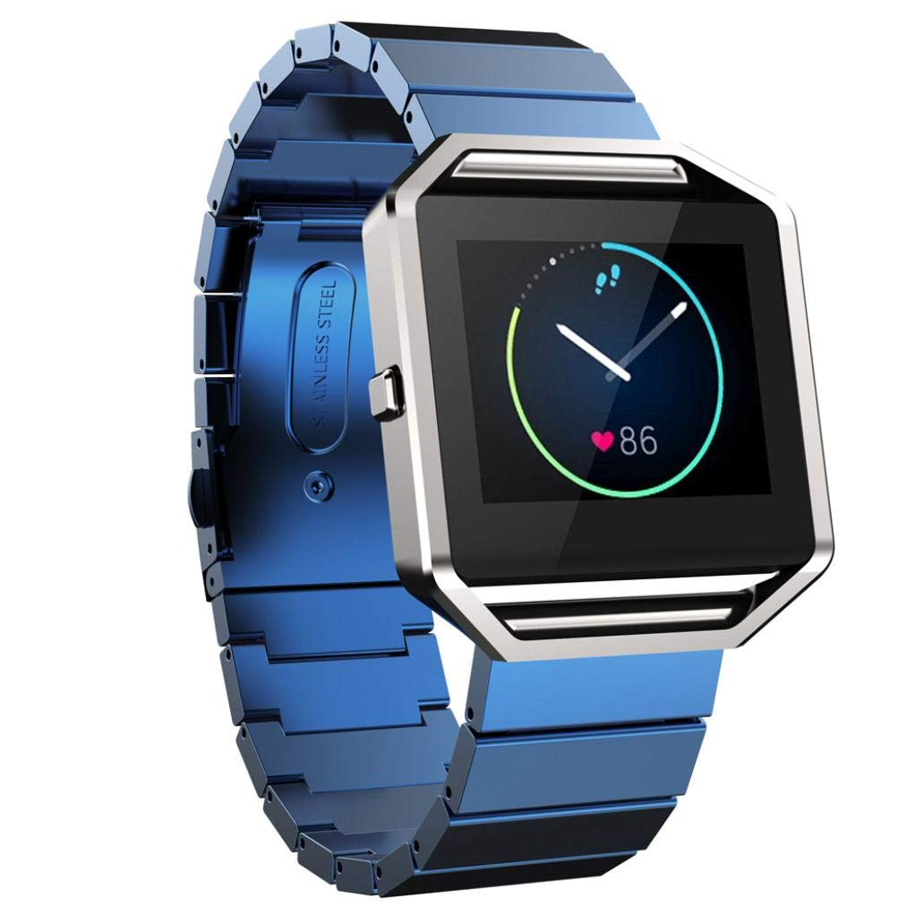 Watch Band for Fitbit Blaze,Saying Classic Buckle Fashion Stailess Steel Bracelet Strap Watch Band for Fitbit Blaze (Blue)