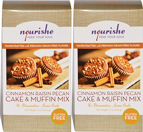 Nourishe Gluten Free Grain Free Cinnamon Raisin Pecan Cake & Muffin Mix Twin (Baked Muffins)