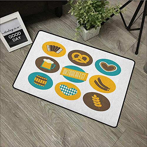 (Hall mat W35 x L59 INCH German,Bavarian Oktoberfest Themed Symbols Pretzel Beer and Accordion, Earth Yellow Teal and Brown Our Bottom is Non-Slip and Will not let The Baby Slip,Door Mat Carpet)