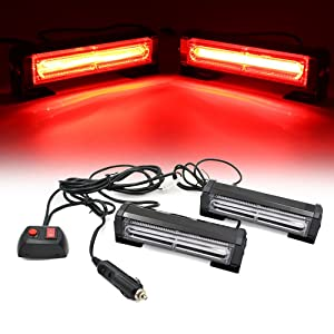 FOXCID New Series Upgrade 2 COB LED 9 Modes Traffic Advisor Emergency Warning Vehicle Strobe Lights for Interior Roof/Dash/Windshield/Grille/Deck Universal Waterproof