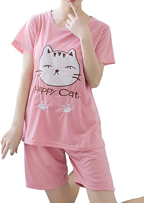 201123f19561 MyFav Big Girls Cotton Nightwear Casual Pajama Set Lovely Happy Cat  Loungewear