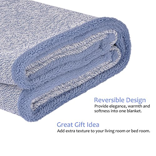 Sherpa Throw Blanket Super Soft Cozy with Plush Fleece for Coach and Bed | Size 50''x 60'' Reversible Warm Knitted Blanket for All Season Blue by Terrania (Image #4)