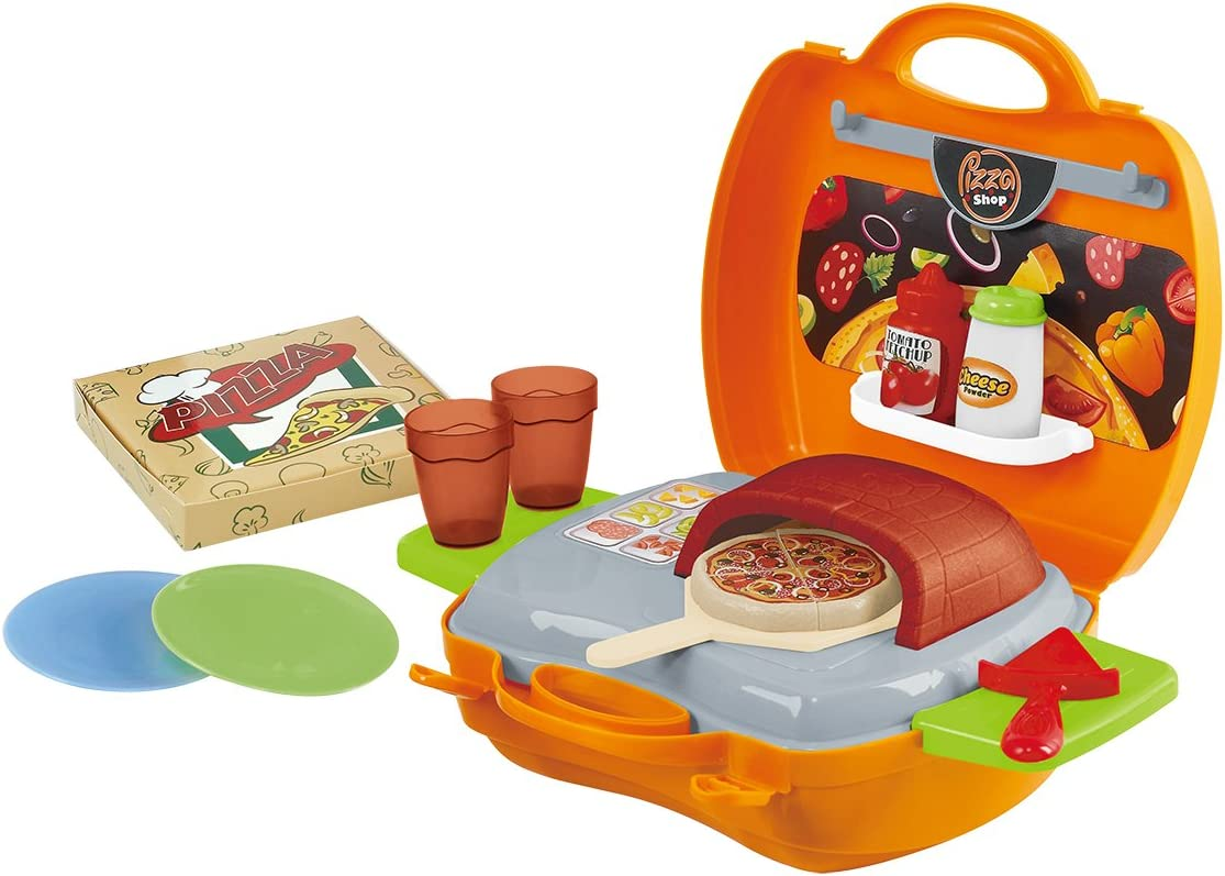 Kids Role Play Toy Pizza Shop Supermarket Kitchen with Accessories Carry Case