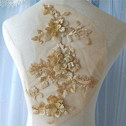 Sparkle Sequined Flower Lace Applique Motives 3D Floral Patch Sewing Sequins Flower for Dance Costume Prom Dress Ballgown Wedding Dress 9 Colors Option ()