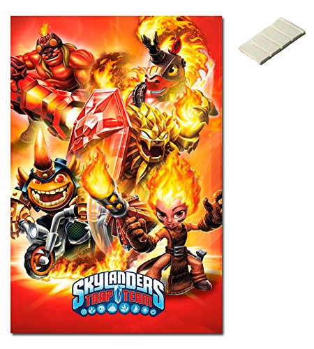 Bundle - 2 Items - Skylanders Trap Team Fire Poster - 91.5 x 61cms (36 x 24 Inches) and Small Block Of White Tack