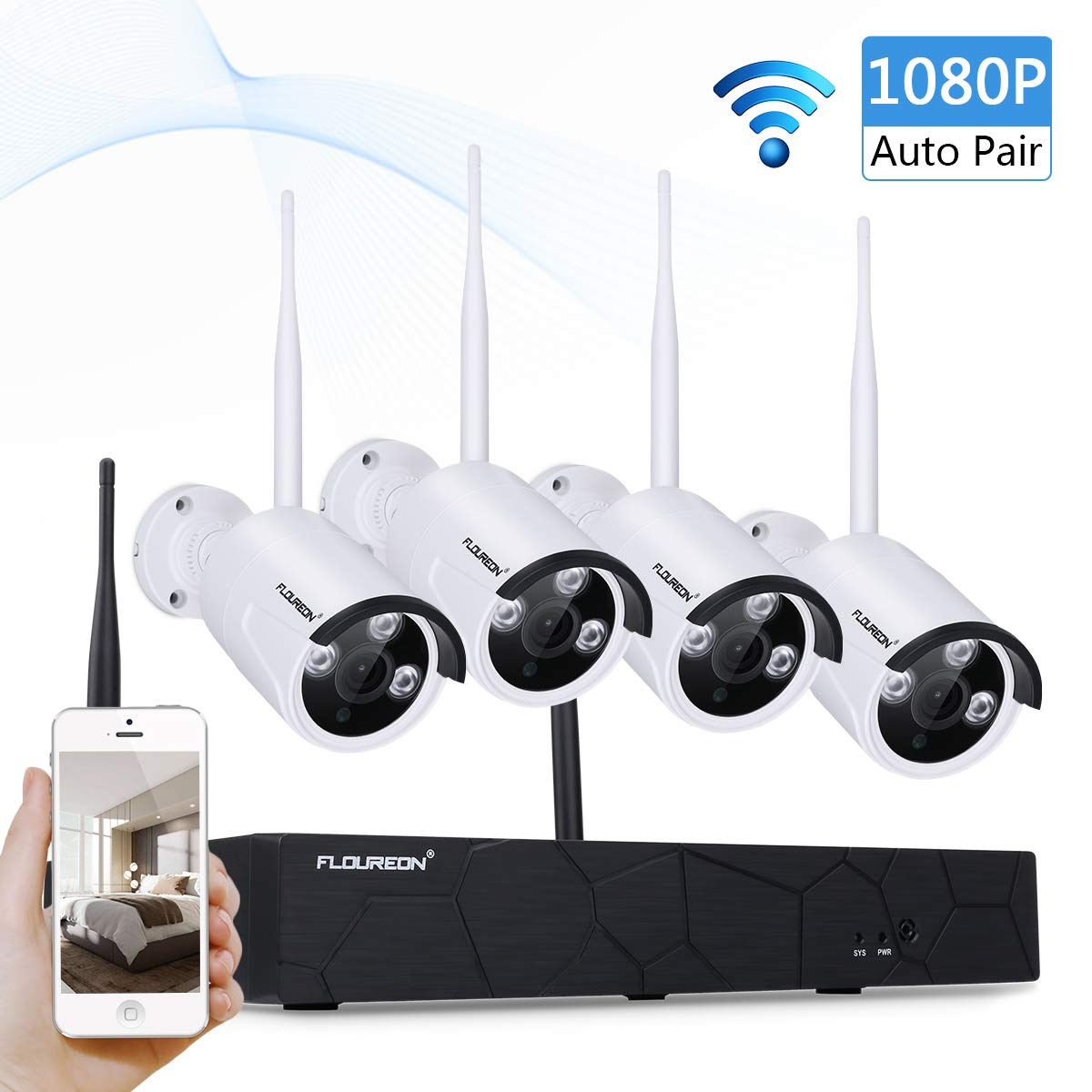 FLOUREON CCTV Wireless Security Cameras System, 4CH 1080P NVR 4Pcs 1080P IP  Security Cameras, P2P CCTV Camera System NO HDD