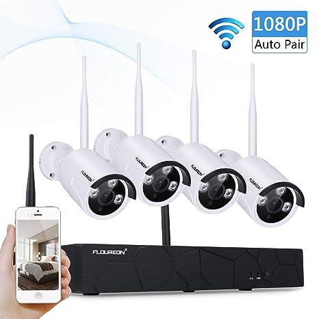Sistema de Cámara de Seguridad, FLOUREON 4CH 1080P NVR Inalámbrica Kit de Vigilancia CCTV Con 2.0MP IR-CUT Apoyo P2P Acceso Remoto Móvil HD Imagen ...
