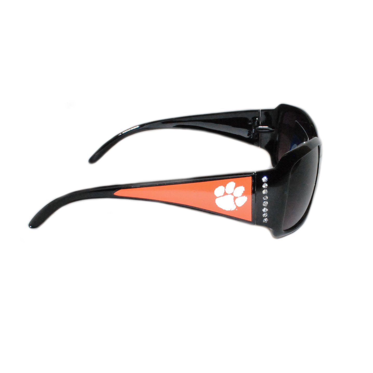 Clemson Tigers Black Sunglasses with Logo and Crystal Clear Rhinestones for Ladies