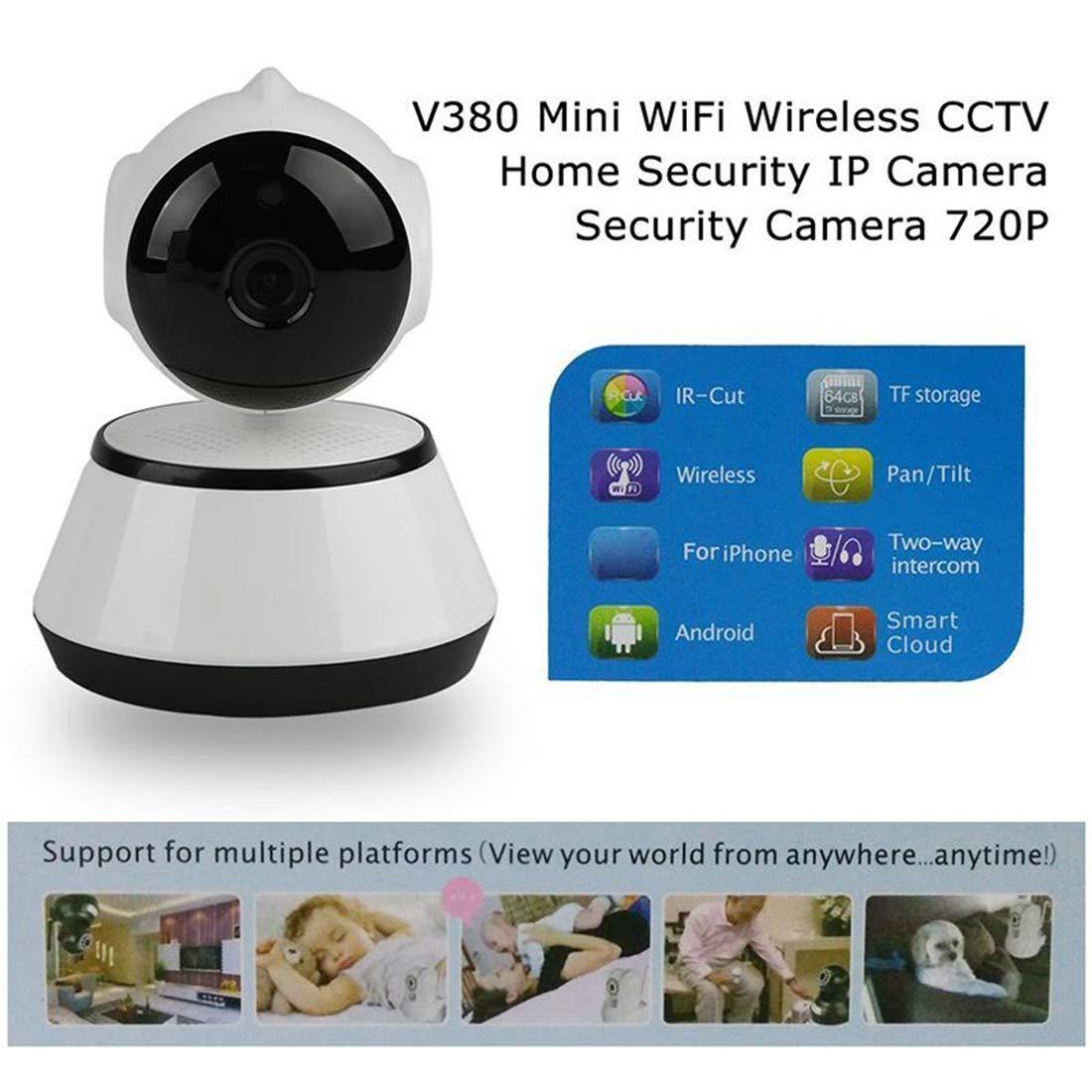 REFURBISHHOUSE V380 Telephone APP HD 720P Mini IP Camera Wifi Camera de securite sans fil P2P Vision nocturne IR Robot Moniteur de bebe Soutien Carte SD non incluse Couleur: Blanc