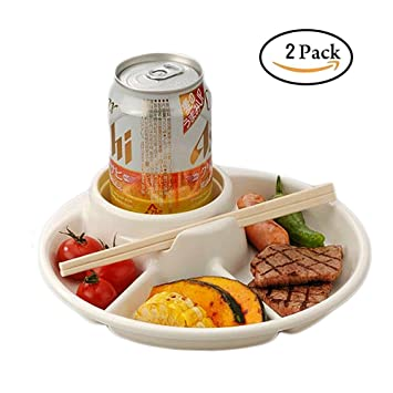 inomata 3-Compartment plate beer drinkCup holder total 4 Section BBQ  sc 1 st  Amazon.com : plate with cup holder - pezcame.com