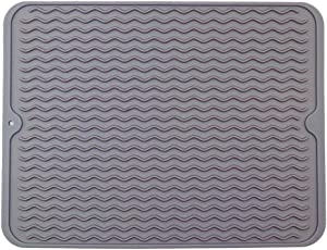 "Silicone Dish Drying Mats for Kitchen Counter, Heat Resistant Mat , Tableware Bowl Mat - Easy Clean, Store Can be Rolled UP - Grey 15.7"" X 11.8"""