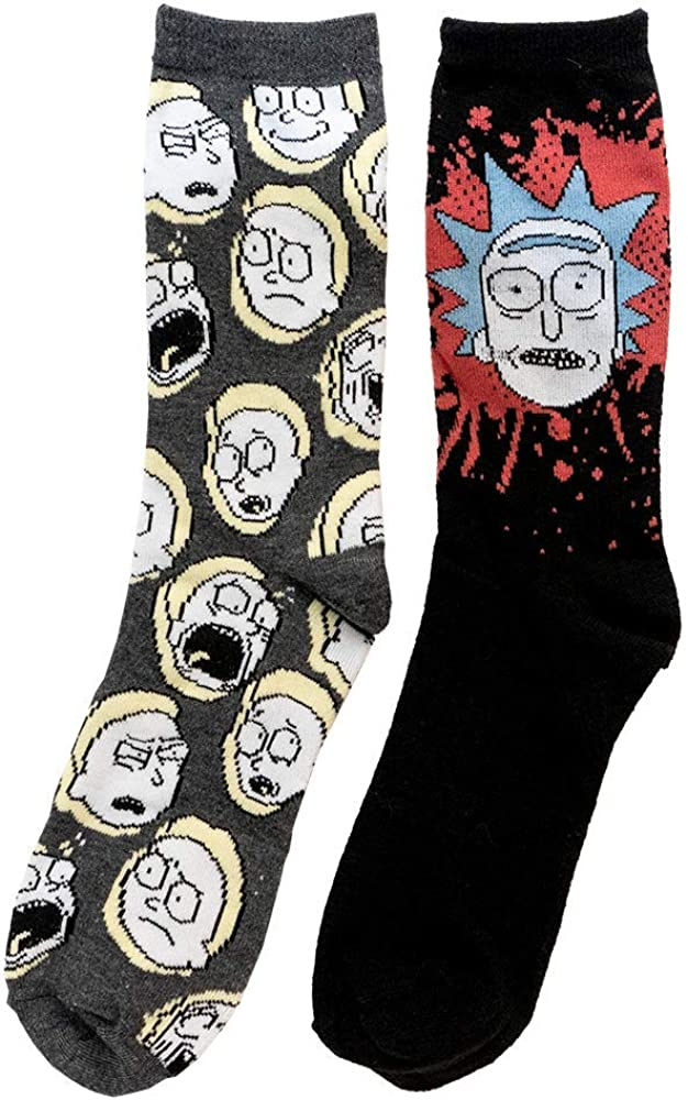 Rick and Morty Mens Crew Socks 2 Pair Pack Shoe Size 6-12 by Hyp