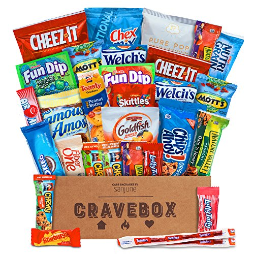 CraveBox - The Classic - Variety Assortment Bundle of Snacks, Candy, Chips, Chocolate, Cookies, Granola Bars, and More!! (30 Count)