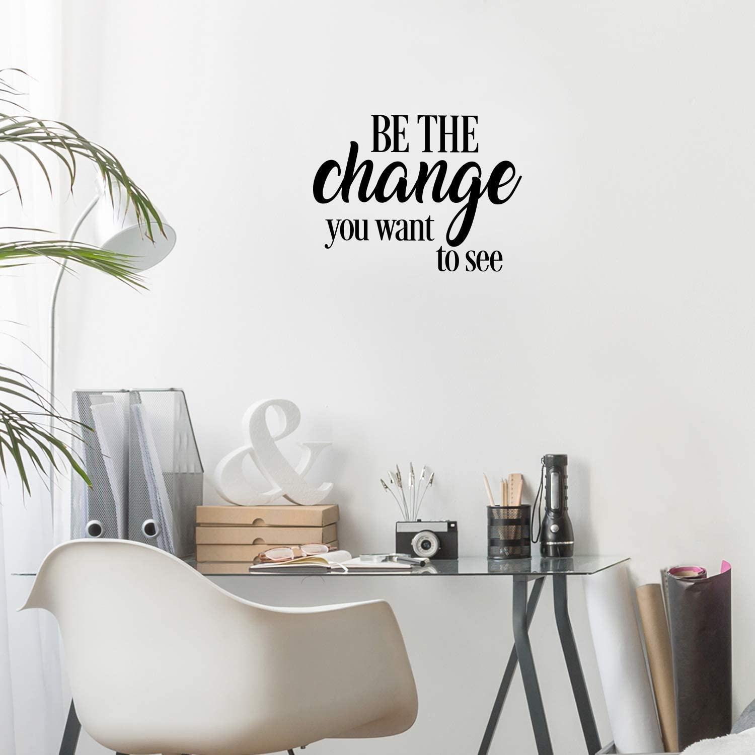 """Vinyl Wall Art Decal - Be The Change You Want to See - 17"""" x 23"""" - Inspirational Positive Life Quote for Home Bedroom Living Room Office Workplace Classroom School Indoor Decoration"""