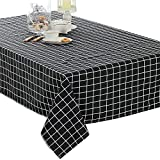 Elome Washable Classic Square Cotton Linen Black Check Tablecloth, Basic Everyday Tablecloth Dinner Picnic Table Cloth Home Decoration Assorted Size (36 Inch x 36 Inch)