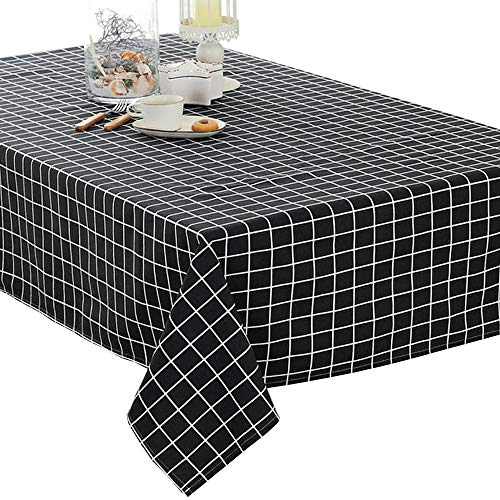 Tablecloth Basic (Elome Washable Classic Square Cotton Linen Black Check Tablecloth, Basic Everyday Tablecloth Dinner Picnic Table Cloth Home Decoration Assorted Size (36 Inch x 36 Inch))
