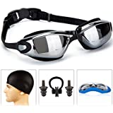 Swim Goggles,Swimming Goggles Mirror Coated Lenses Anti-Fog Shatterproof UV Protection,Triathlon Swim Goggles with Free Protection Case for Adult Sphere Men Women Youth Child Kids By EENG
