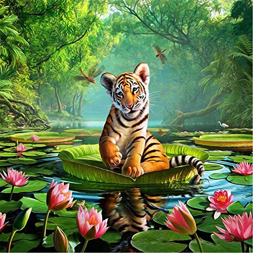 (Tiger on Lotus Leaf 5D DIY Decor Diamond Painting,Pausseo Xmas Gift Drilling Drawing Accessories Cross Stitch Kits Embroidery Picture Rhinestone Pasted Home Decor for Adults or Kids - 25x25cm)