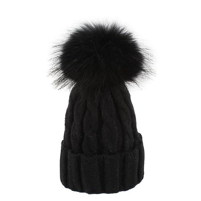 Women Winter Warm Knitted Faux Fur Beanie Hat Dallas Cowboys Hat