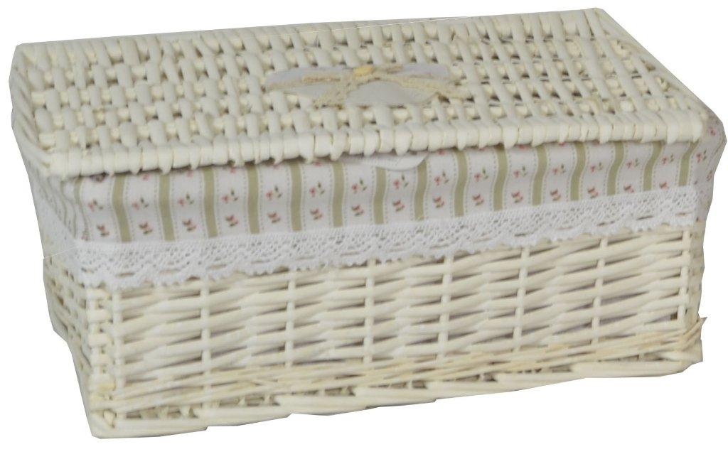 Contenitore scatola bauletto in vimini e rattan 37x26h17 chiaro naturale foderato con decoro righe verticali porta tutto oggetti per casa camera salotto bagno Savino Fiorenzo