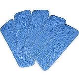 "Lot of 5 Blue Microfiber Mop Pads Head Wet Dry Mops Refill for 15"" Flat Mop Base"