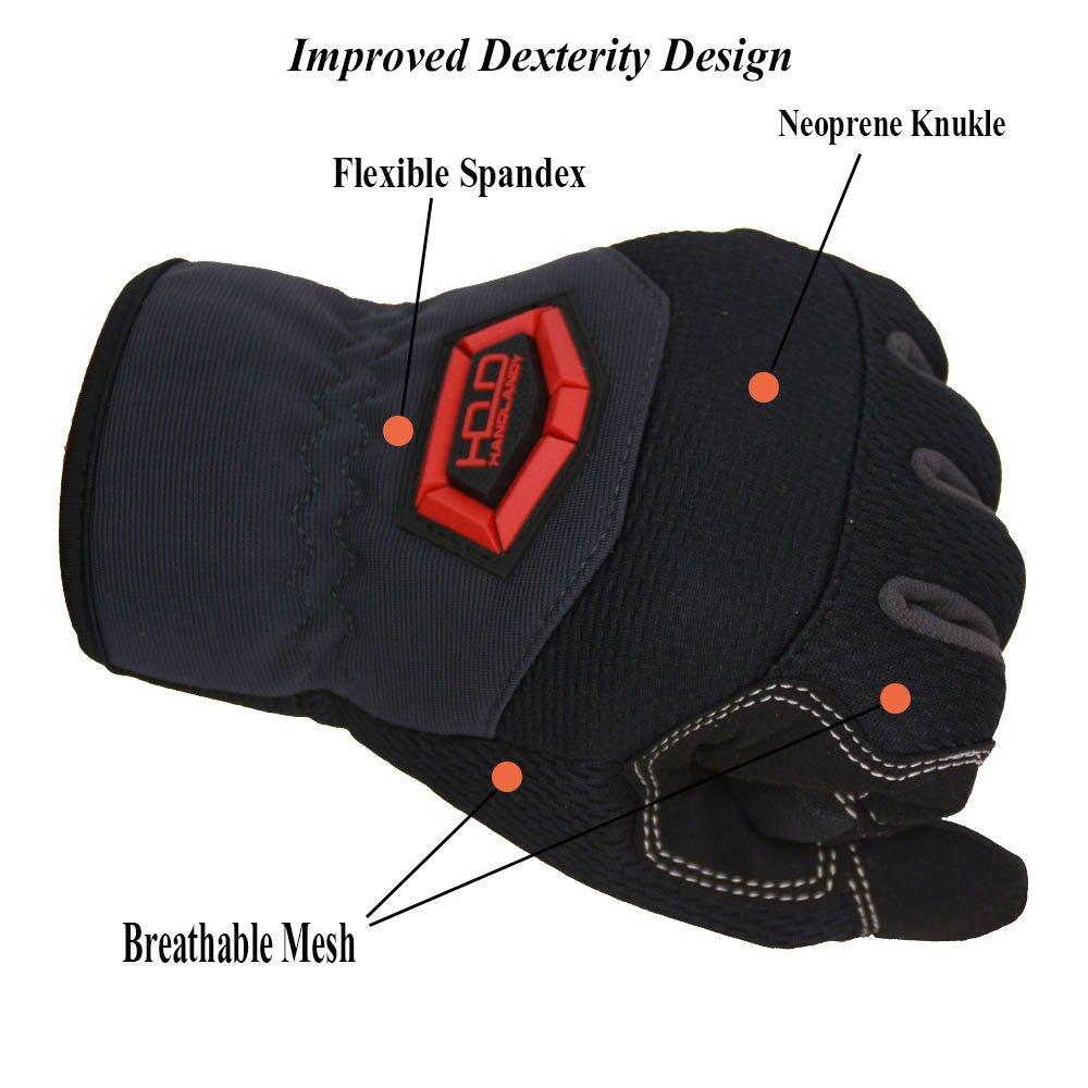 Handlandy Flex Grip Work Gloves Mens, Anti Vibration Impact Gloves- SBR Padded Palm, Improved Dexterity, Stretchable, Extra Large by HANDLANDY (Image #3)