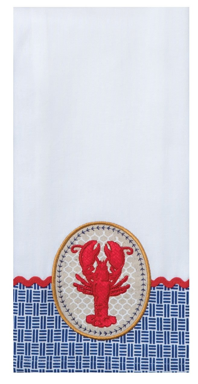 Total 2 Terry Towels and 2 Tea Towels for Dish and Hand Drying by Kay Dee Designs 4 Nautical Themed Decorative Cotton Kitchen Towels Set with Lobster and Crab Print