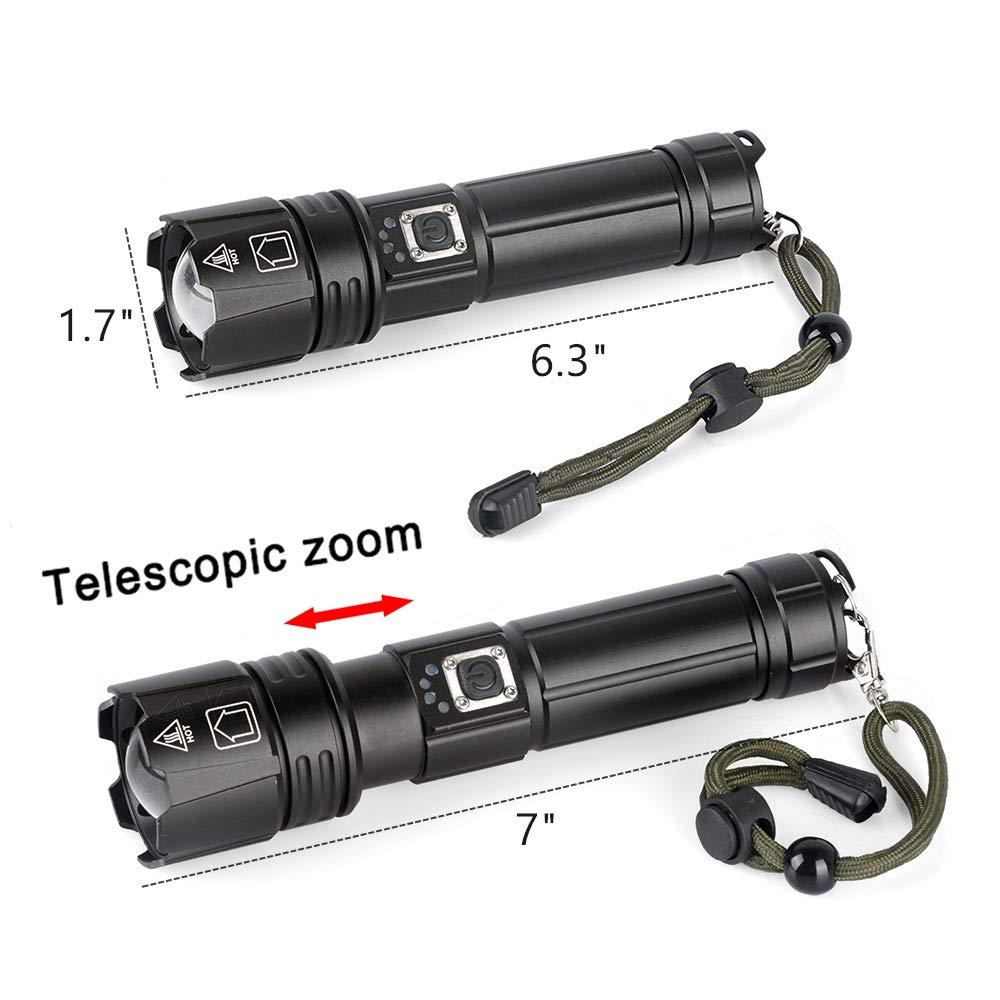 LUXNOVAQ Zoomable 8000 High Lumen Tactical Flashlight Waterproof Portable USB Hand Flashlight with Battery /& 5 Modes for Camping Powerful Flashlights Rechargeable Super Bright XHP70 LED Torch Light