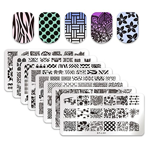 (Born Pretty 8pcs L001-008 Nail Art Stamp Stamping Template Image Plates)