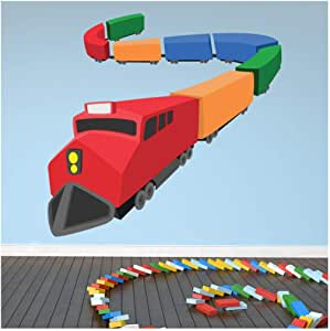 azutura Red Orange Train Wall Sticker Transport Wall Decal Boys Bedroom Home Decor Available in 8 Sizes X-Large Digital
