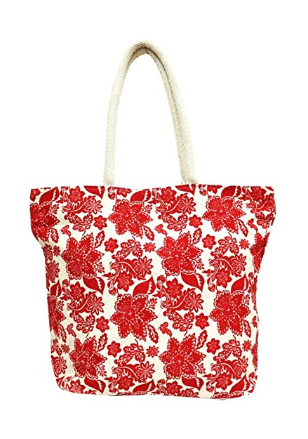 6a40d8f97d7a Image Unavailable. Image not available for. Colour  Bag End Cotton Printed  Multipurpose Red Canvas Tote Bag for Women
