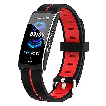 WSDSX Reloj Inteligente IP68 Resistente al Agua Pulsera cronómetro tensiómetro frecuencia cardíaca Fitness Tracker Reloj Deportivo, Rojo: Amazon.es: ...