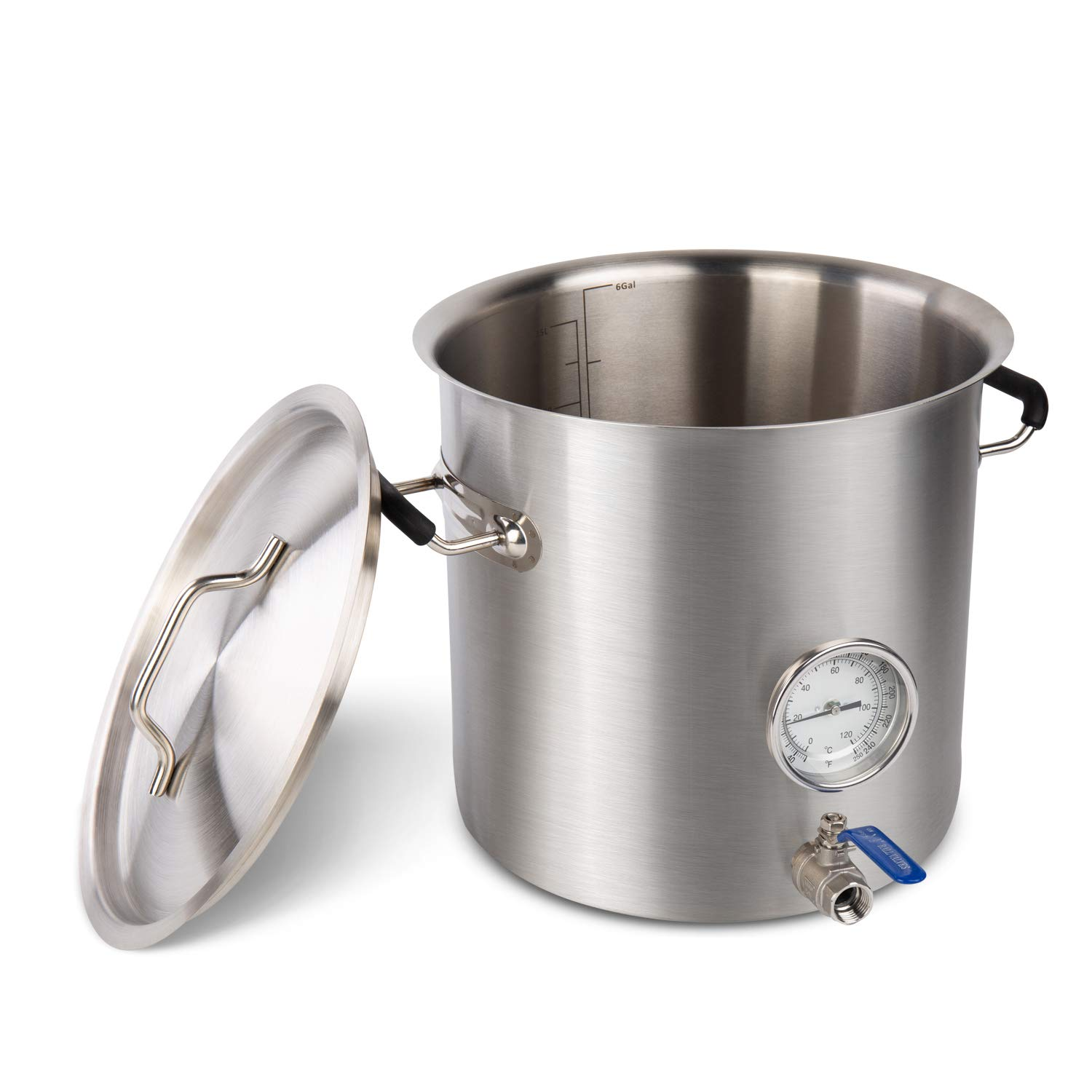 BACOENG Stainless Steel Home Brew Kettle Stock Pot (Weldless Fittings) (25 QT/ 6 Gal)