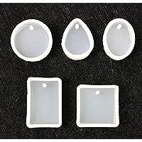 5pcs moules en silicone bricolage artisanat moules outils de fabrication de bijoux avec trou de suspension bricolage accessoires (blanc)