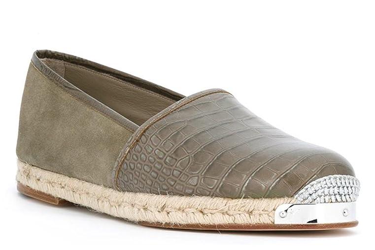 Santiago Crocodile-Embossed Calfskin Espadrilles Loafer (8 US 81 EU)