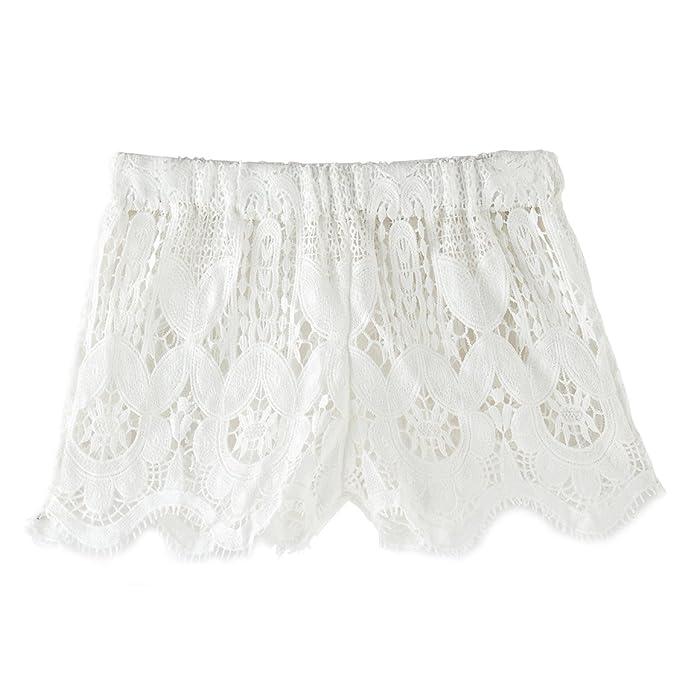766010dc5e zeraca Women's Crochet Lace Beach Board Shorts (XS2, White) | Amazon.com