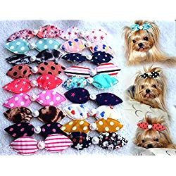 10pcs/pack Mix Colors Dog Hair Clips Pearls Centre Pet Dog Grooming Bows Supplies Pet Hair Clips Teddy Exquisite Rabbit Ears Dog Hair Accessories Free Shipping