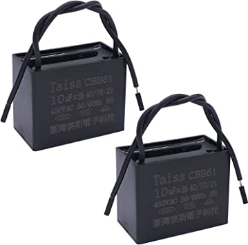 Wadoy CBB61 Fan Capacitor 2 Wire 10uf 2 Pack Celiling Fan Capacitor 250V