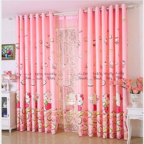 Hello Kitty Sheer (GREENEARTH 2pcs the Blackout Curtains Drape/Panels/Treatment with Hello Kitty Print, Suit for Children's Room,Color Pink/Blue.Size 100