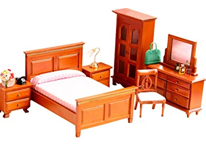 Amazon Com Bestlee 1 12 Scale Classic Wooden Dollhouse Bedroom