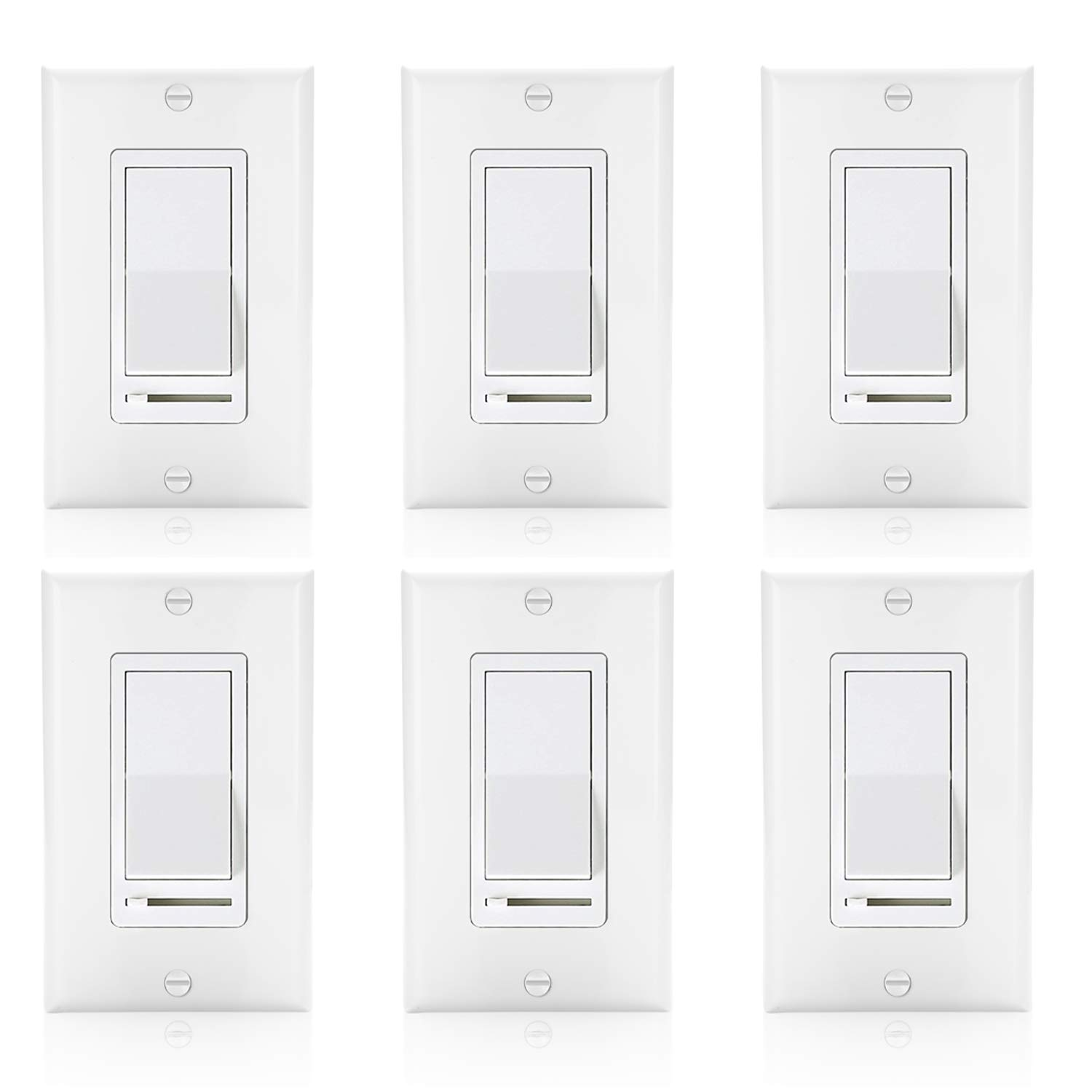 [6 Pack] BESTTEN Decorative Rocker Light Dimmer Switch with Horizontal Slider & Side Adjuster for Incandescent or Halogen Bulbs, CFL and LED Dimmable Lamps, Decor Wall Plate Included, UL Listed, White