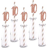 Rose Happy 10th Birthday Straw Decor, Rose Gold Glitter 24pcs Cut-Out Number 10 Party Drinking Decorative Straws…