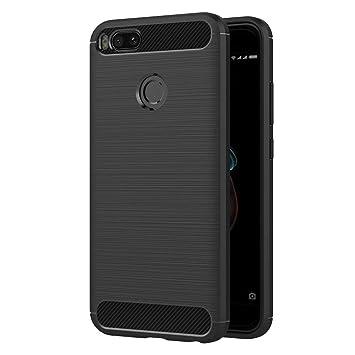Funda Coovertify Shield Carbon Xiaomi Mi A1 / Mi 5X, Carcasa Negra Tpu Gel Silicona Flexible Efecto Fibra de Carbono para Xiaomi Mi A1 / Mi 5X (5,5