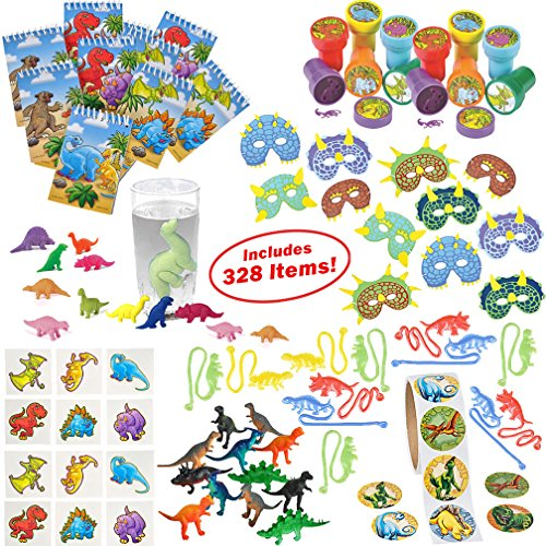 Dinosaur Party Supplies for Boys Girls 328 Piece | Dinosaur Birthday Decorations and Kids Party Favors for 12 Children | Toys, Stickers, Figures, Masks, Tattoos, Stampers | Mr. E=mc² Birthday (Disney Halloween Treat Part 6)