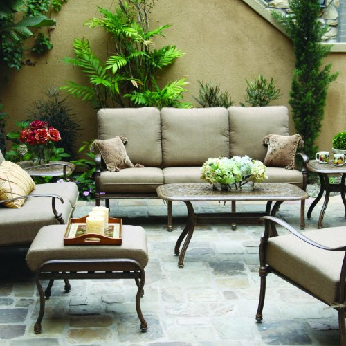 - Darlee Florence 7 Piece Cast Aluminum Patio Conversation Seating Set with Coffee Table & 2 End Tables - Antique Bronze