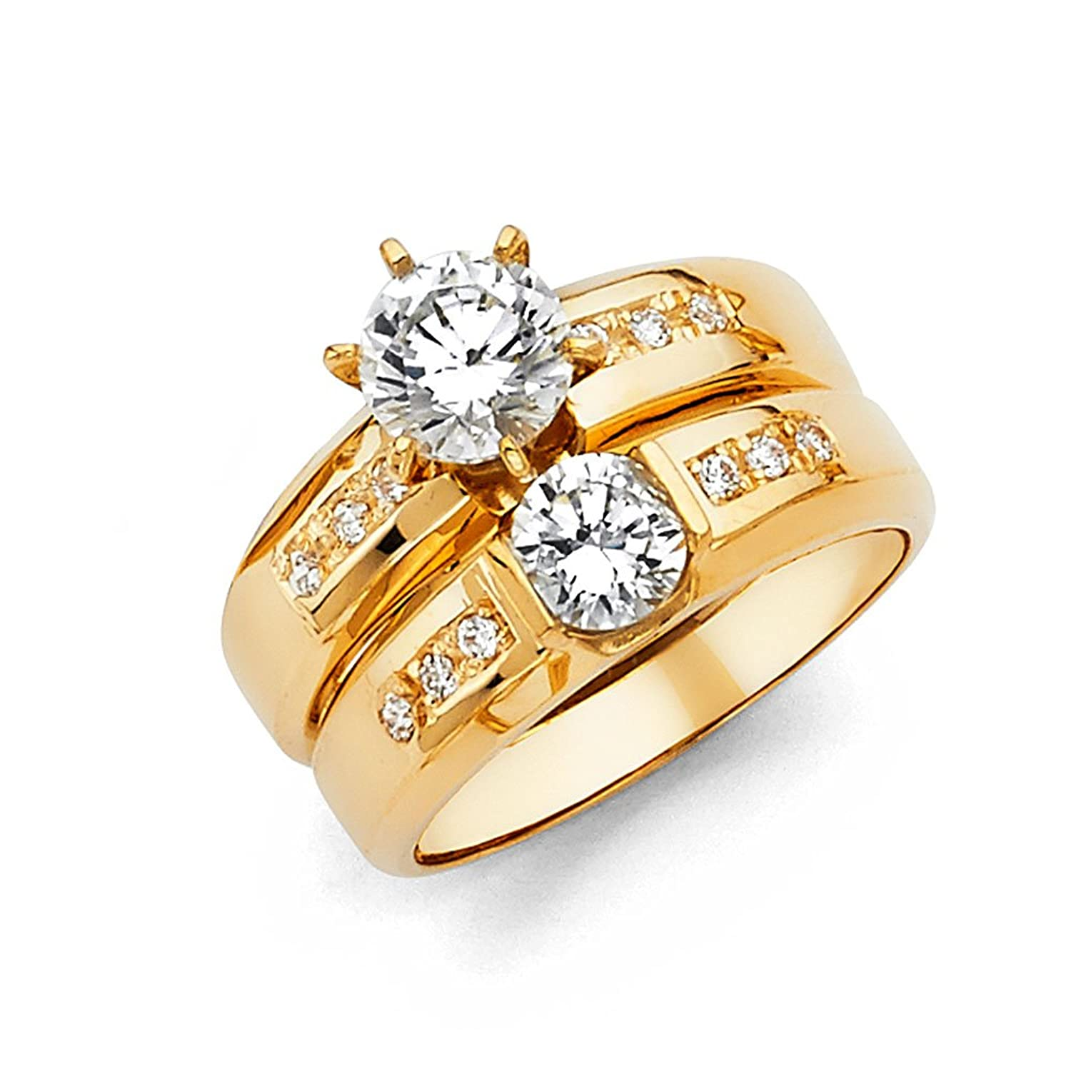 Amazon 14k Yellow Gold SOLID Engagement Ring and Wedding Band