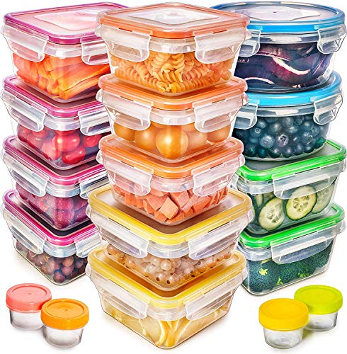 Food Storage Containers with Lids – Plastic Food Containers with Lids – Plastic Containers with Lids Storage (17 Pack) – Plastic Storage Containers with Lids Food Container Set BPA-Free Containers