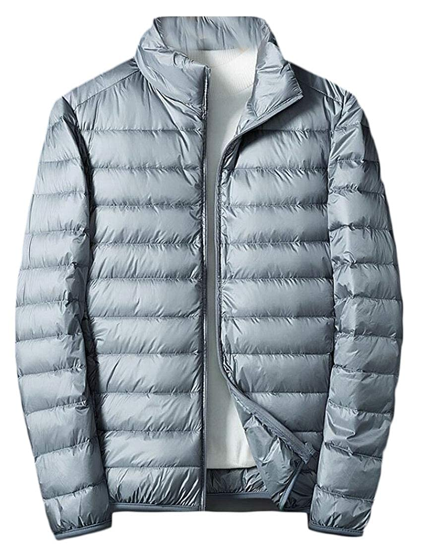 Gocgt Mens Lightweight Puffer Coats Stand Collar Packable Down Jacket