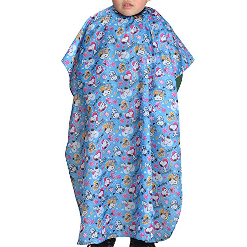 Colorfulife Child Hair Cutting Waterproof Cape Barber Kids Hair Styling Cloth with Snap Closure Professional Home Salon Hairdressing Wrap Cartoon Dog Pattern B018 (Blue Dog) by Colorfulife