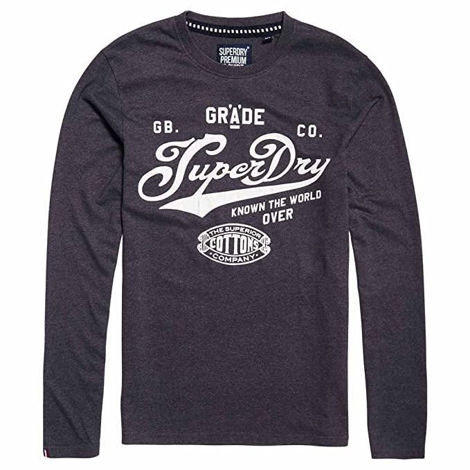 Superdry M60015hp-Camiseta Hombre BLU (Midnight Marl Chalk) Small: Amazon.es: Ropa y accesorios